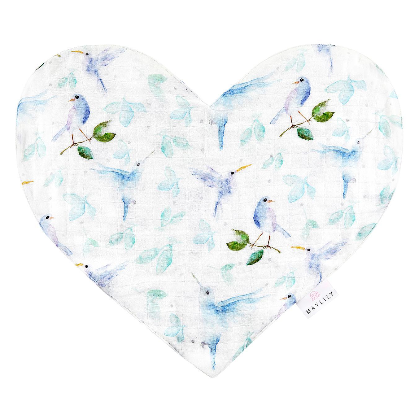 Muslin srce MAYLILY, heavenly birds