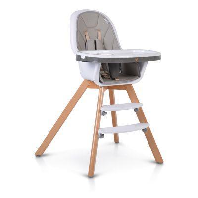 Drvena stolica za hranjenje HYGGE 2u1, siva